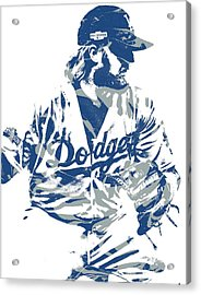 Justin Turner Los Angeles Dodgers Pixel Art 15 Acrylic Print