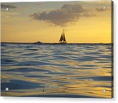 Kaimana Golden Sunset Acrylic Print by Erika Swartzkopf