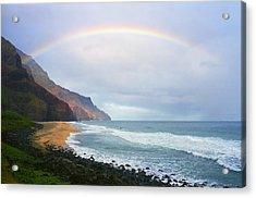 Kalalau Beach Rainbow Acrylic Print by Kevin Smith