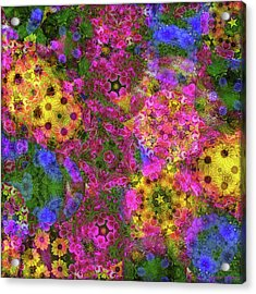 Kaleidoscopes Of Flowers Acrylic Print by Mary P. Siebert