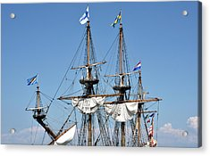 Acrylic Print featuring the photograph Kalmar Nyckel - Docked In Lewes Delaware by Brendan Reals