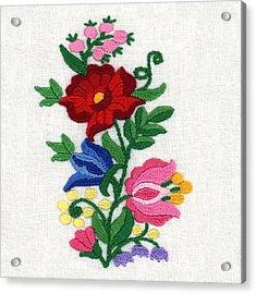 Kalocsa Flowers Embroidery Acrylic Print