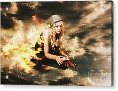 Kamakazi Pin-up Girl On Atomic Bomb Acrylic Print by Jorgo Photography - Wall Art Gallery