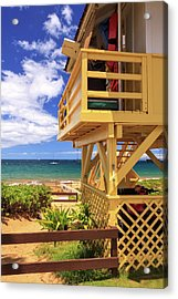Acrylic Print featuring the photograph Kamaole Beach Lifeguard Tower by James Eddy