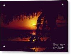 Kamaole Tropical Nights Sunset Gold Purple Palm Acrylic Print by Sharon Mau