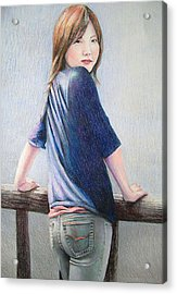 Kanae In Jeans Acrylic Print