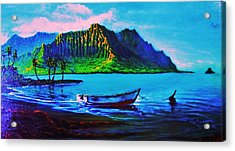 Kaneohe Bay Afternoon -with Skiff Acrylic Print