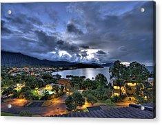 Kaneohe Bay Night Hdr Acrylic Print by Dan McManus
