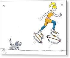 Kangoo Jumps Bouncy Shoes Walking The Dog Keep Fit Cartoon Acrylic Print