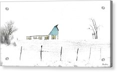 Kansas Blue Barn In Frozen Fog Acrylic Print