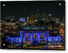 Kansas City In Royal Blue Acrylic Print by Lisa Plymell