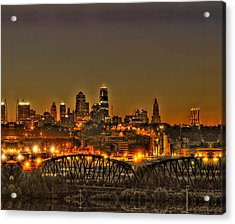 Kansas City Missouri At Dusk Acrylic Print by Don Wolf