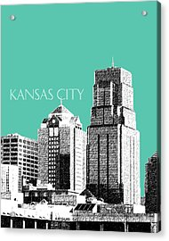 Kansas City Skyline 1 - Teal Acrylic Print by DB Artist
