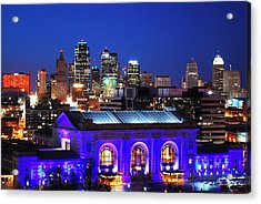Kansas City Skyline At Night Acrylic Print