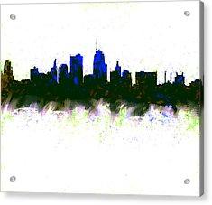 Kansas City Skyline Blue  Acrylic Print
