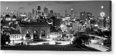 Kansas City Skyline Bw Acrylic Print