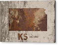 Kansas State Map Industrial Rusted Metal On Cement Wall With Founding Date Series 040 Acrylic Print by Design Turnpike