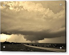 Acrylic Print featuring the photograph Kansas Twister - Sepia by Ed Sweeney