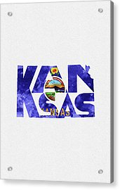 Kansas Typographic Map Flag Acrylic Print