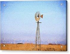 Acrylic Print featuring the digital art Kansas Windmills by JC Findley