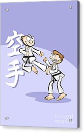 Karate Fighter Jumps And Kicks His Opponent's Chest Acrylic Print