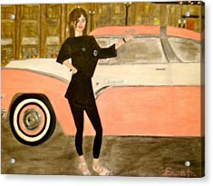 karen-Model in black with pink car Acrylic Print