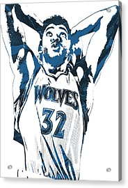 Karl Anthony Towns Minnesota Timberwolves Pixel Art Acrylic Print by Joe Hamilton