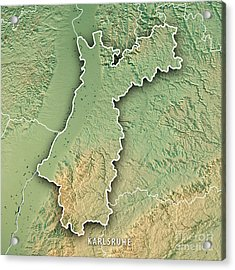 Karlsruhe Administrative Region Baden-wurttemberg 3d Render Top Acrylic Print