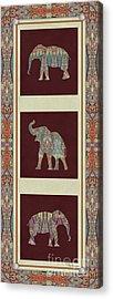 Kashmir Elephants - Vintage Style Patterned Tribal Boho Chic Art Acrylic Print