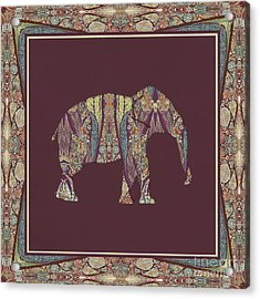 Acrylic Print featuring the painting Kashmir Patterned Elephant 2 - Boho Tribal Home Decor  by Audrey Jeanne Roberts