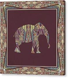 Kashmir Patterned Elephant 2 - Boho Tribal Home Decor  Acrylic Print
