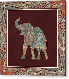 Acrylic Print featuring the painting Kashmir Patterned Elephant 3 - Boho Tribal Home Decor by Audrey Jeanne Roberts