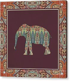 Acrylic Print featuring the painting Kashmir Patterned Elephant - Boho Tribal Home Decor  by Audrey Jeanne Roberts