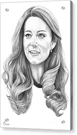 Kate Middleton Catherine Duchess Of Cambridge Acrylic Print by Murphy Elliott