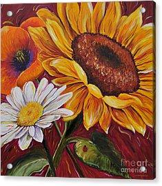 Kathrin's Flowers Acrylic Print by Lisa Fiedler Jaworski