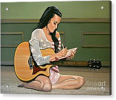 Katy Perry Painting Acrylic Print by Paul Meijering