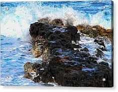 Kauai Rock Splash Acrylic Print