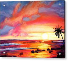 Acrylic Print featuring the painting Kauai West Side Sunset by Marionette Taboniar