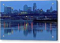 Kaw Point Blue Hour Reflection Acrylic Print by Frozen in Time Fine Art Photography