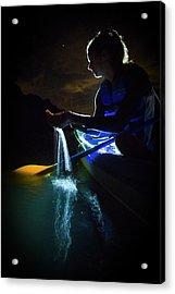 Kayak In The Biobay Acrylic Print by Karl Alexander