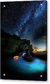 Kayak In The Biobay Under The Milky Way Acrylic Print by Karl Alexander