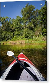 Kayak On A Forested Lake Acrylic Print