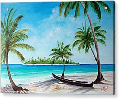 Kayak On The Beach Acrylic Print