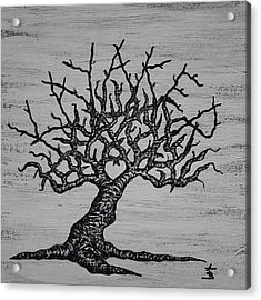 Acrylic Print featuring the drawing Kayaker Love Tree by Aaron Bombalicki