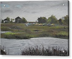 Kayaks And Clouds Acrylic Print