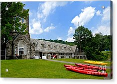 Kayaks At Boat House North Park Pittsburgh Pennsylvania Acrylic Print by Amy Cicconi