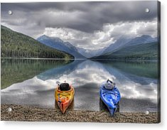 Kayaks On Bowman Lake Acrylic Print by Donna Caplinger