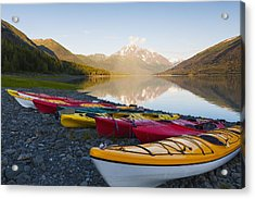 Kayaks On The Shore Of Eklutna Lake Acrylic Print