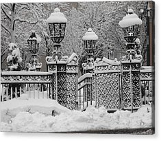 Kc Plaza Is Art In The Snow Acrylic Print