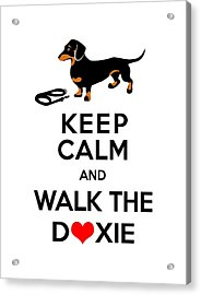 Keep Calm And Walk The Doxie Acrylic Print by Antique Images